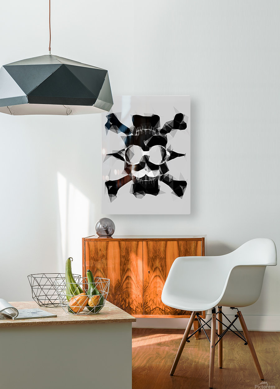 psychedelic skull art geometric triangle pattern abstract in black and white  HD Metal print with Floating Frame on Back