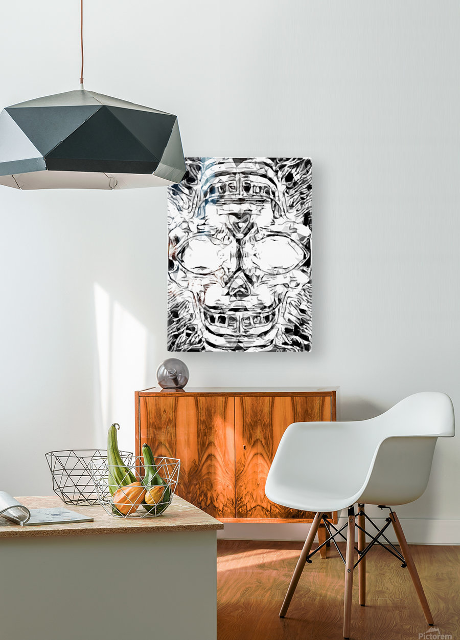 psychedelic skull art geometric triangle abstract pattern in black and white  HD Metal print with Floating Frame on Back
