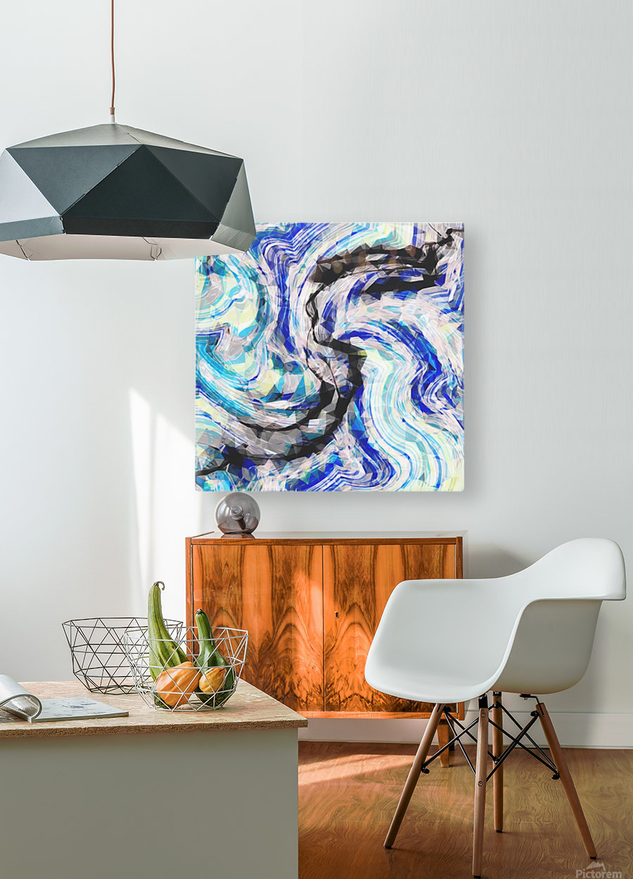 psychedelic geometric polygon pattern abstract in blue yellow black  HD Metal print with Floating Frame on Back