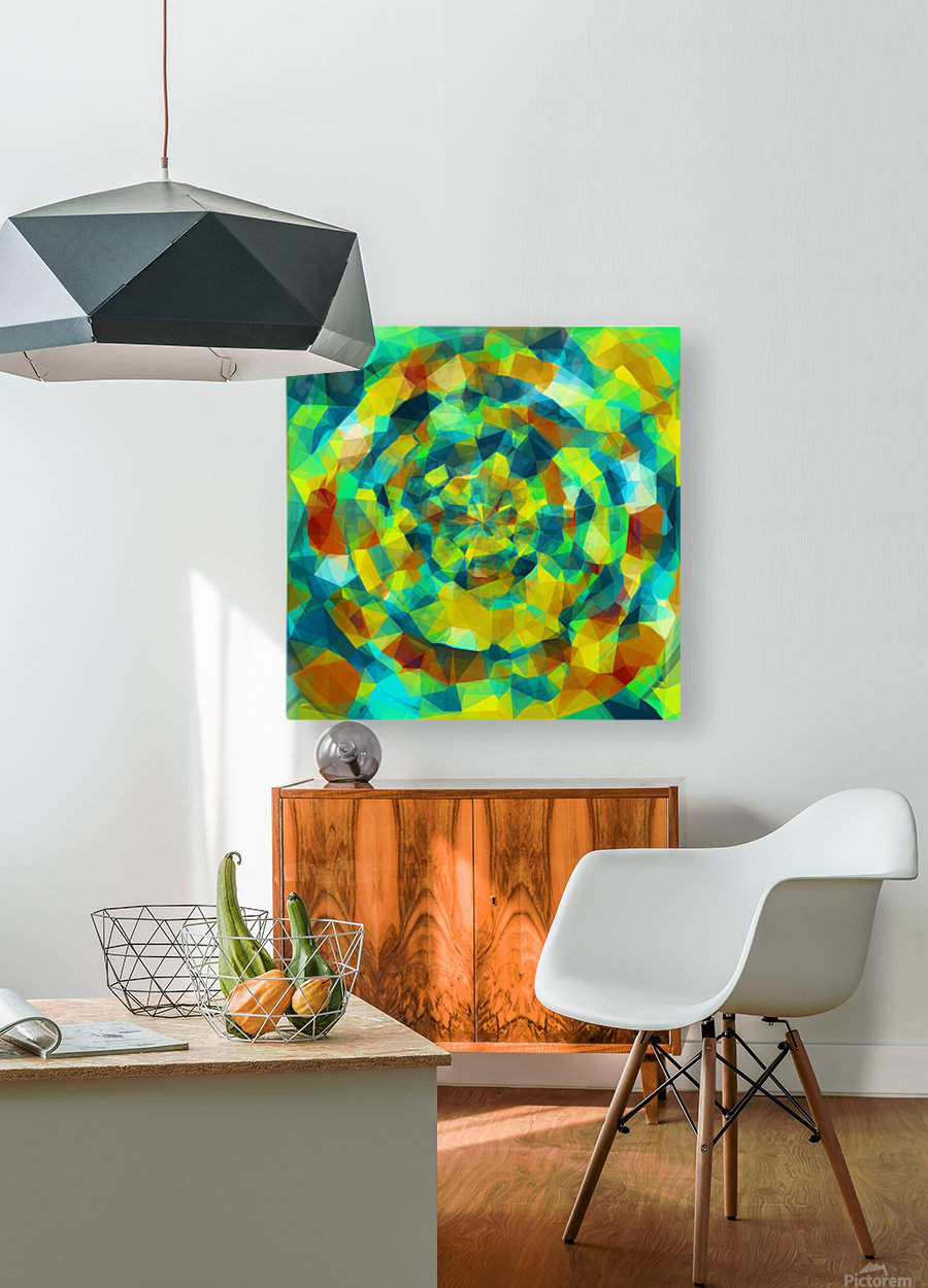 psychedelic geometric polygon pattern abstract in blue yellow green brown  HD Metal print with Floating Frame on Back