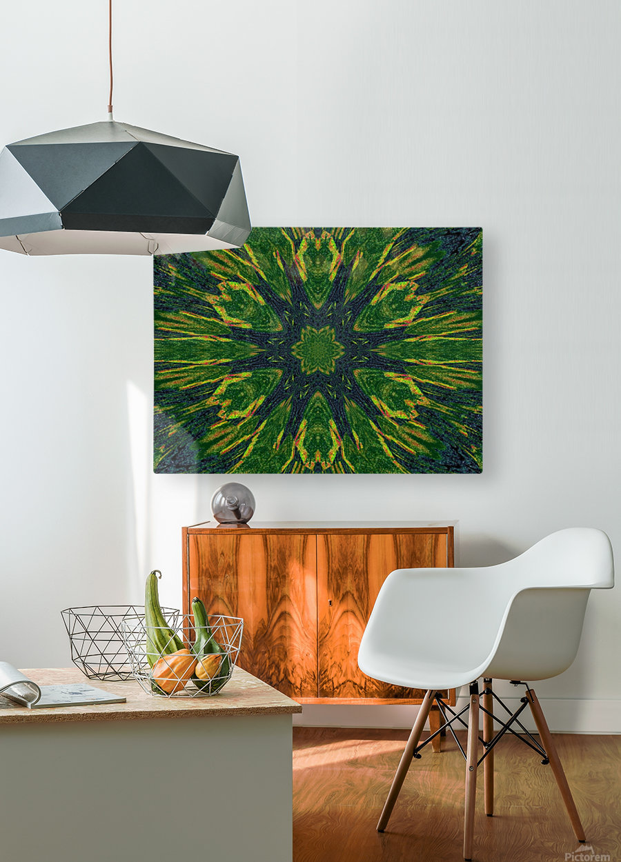 Green Flower 4  HD Metal print with Floating Frame on Back