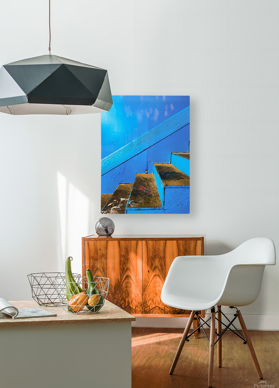 blue and brown old wood stairs with blue wall background  HD Metal print with Floating Frame on Back