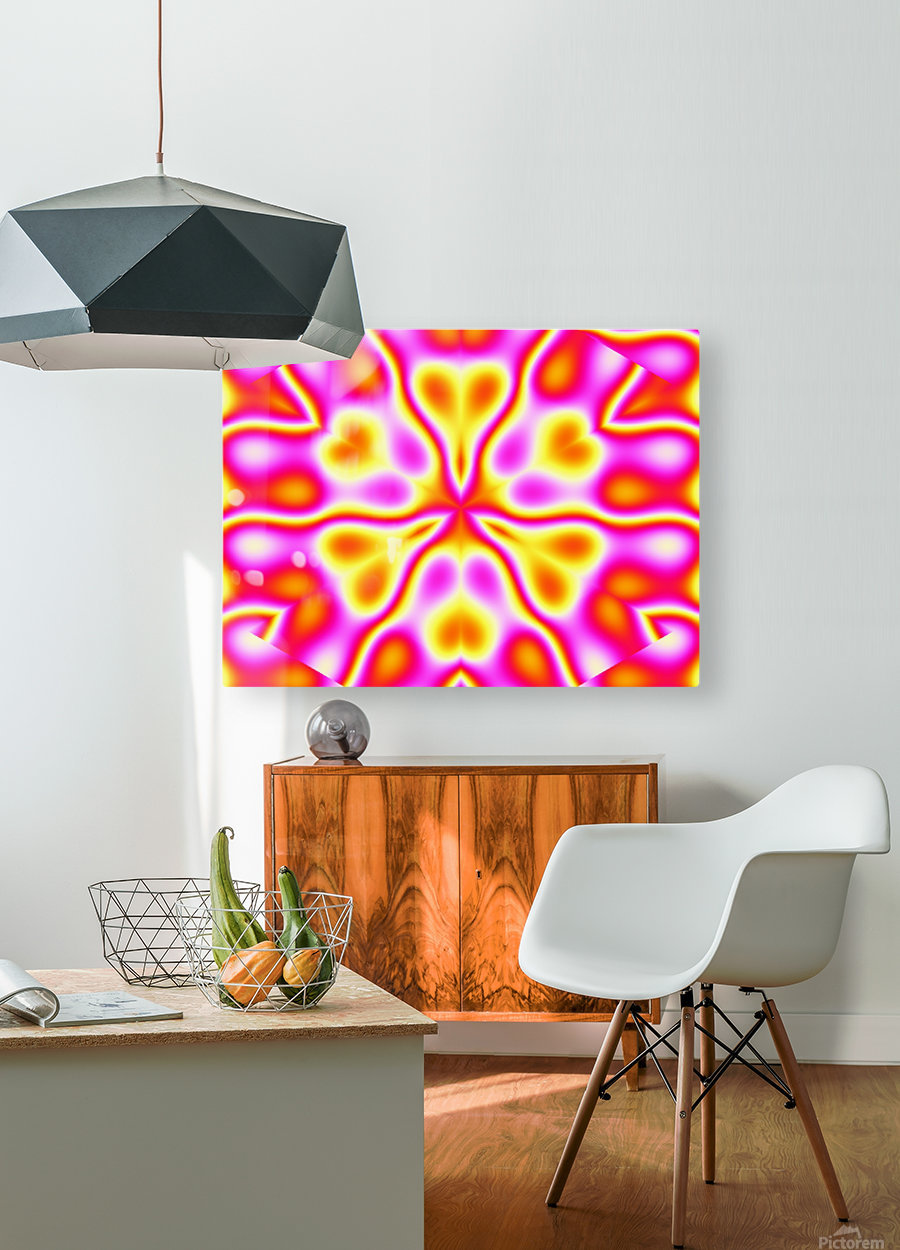 California Wildflowers in Pink and Yellow  HD Metal print with Floating Frame on Back