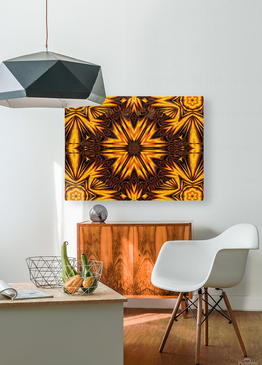 Golden Dandelion  HD Metal print with Floating Frame on Back