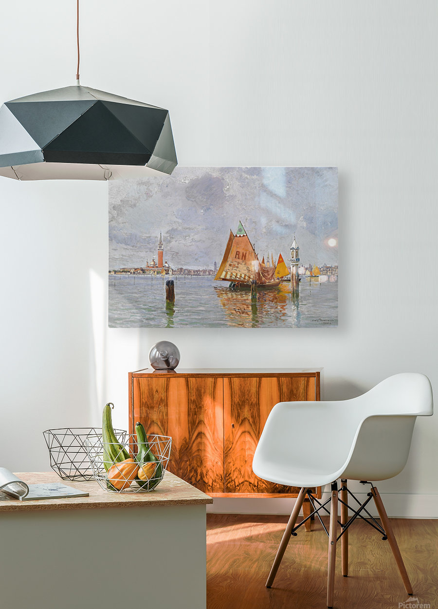 Fishing boats in Venetian lagoon  HD Metal print with Floating Frame on Back