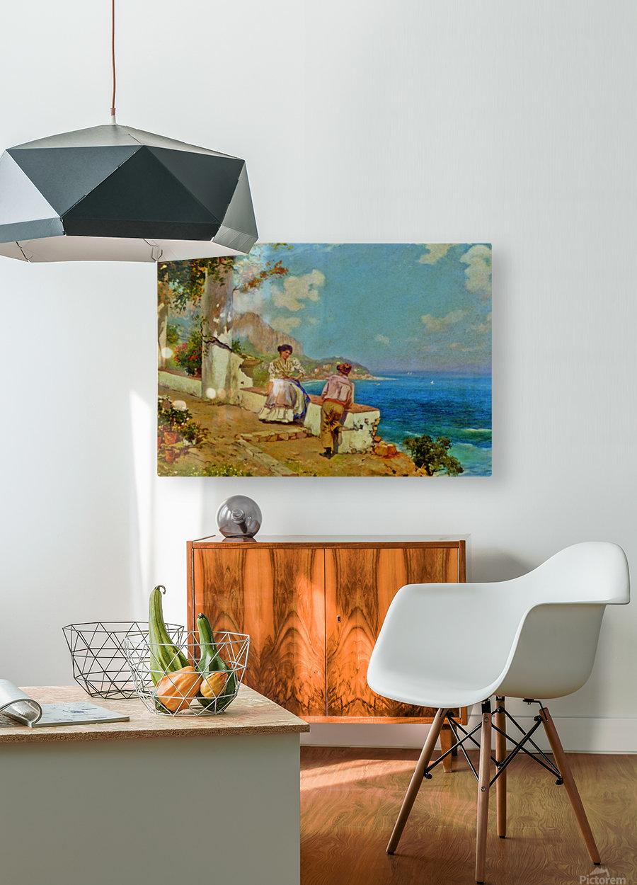 Courting couple in Naples  Impression métal HD avec cadre flottant sur le dos