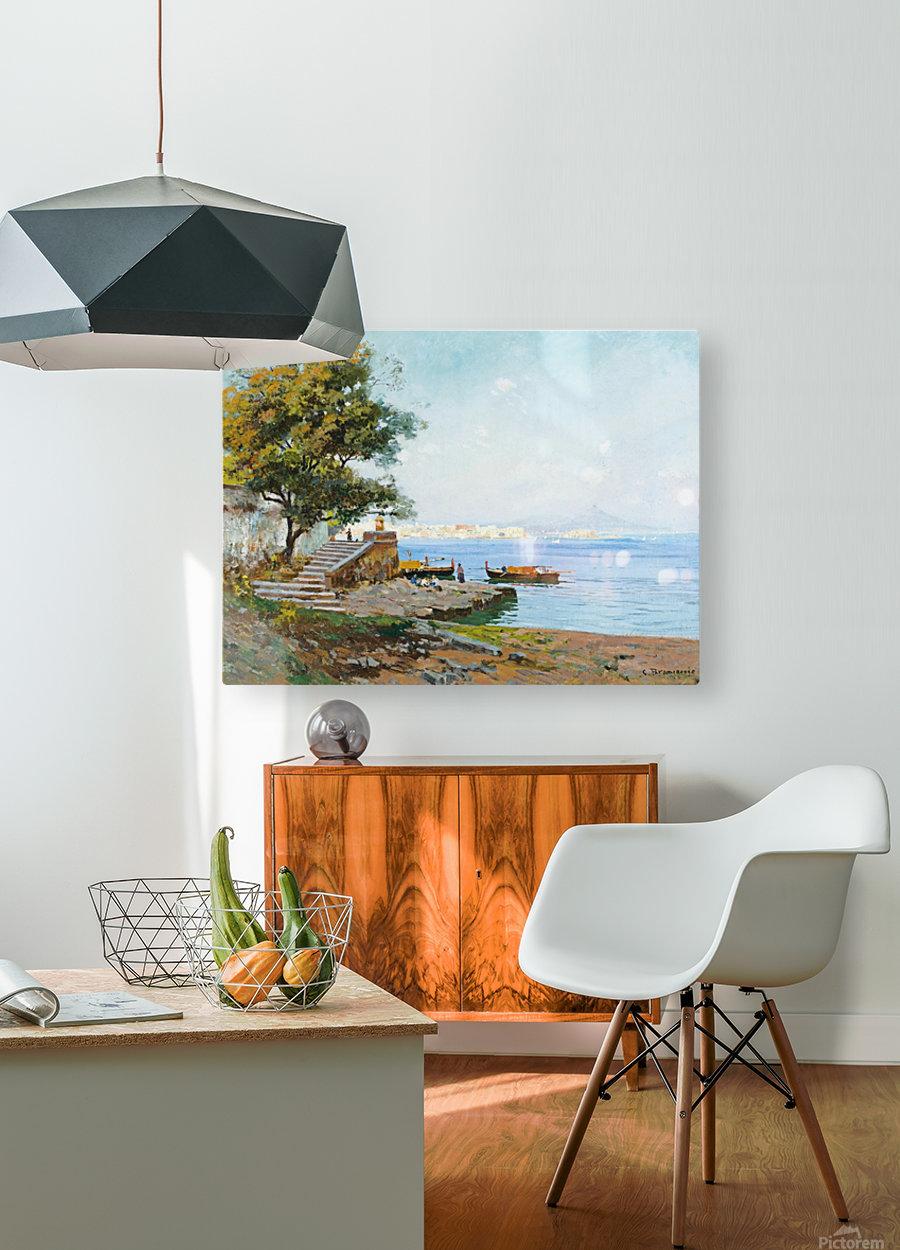 La baie de Naples  Impression métal HD avec cadre flottant sur le dos