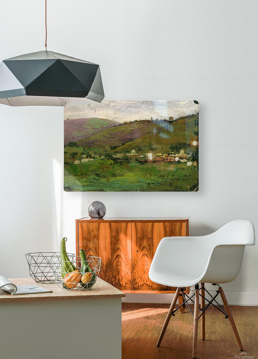 Landscape with houses on an Italian hill  Impression métal HD avec cadre flottant sur le dos