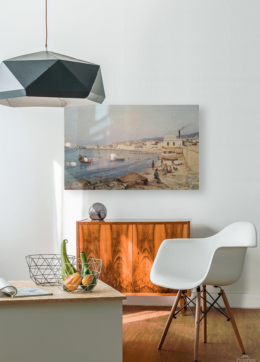 Marina di Napoli  Impression métal HD avec cadre flottant sur le dos