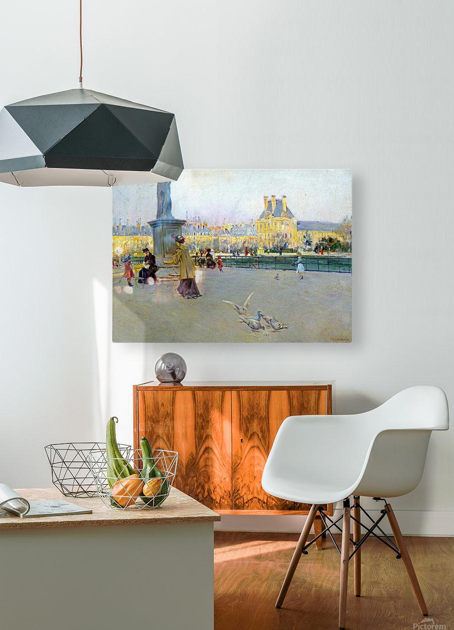 City view with figures and birds in Paris  Impression métal HD avec cadre flottant sur le dos