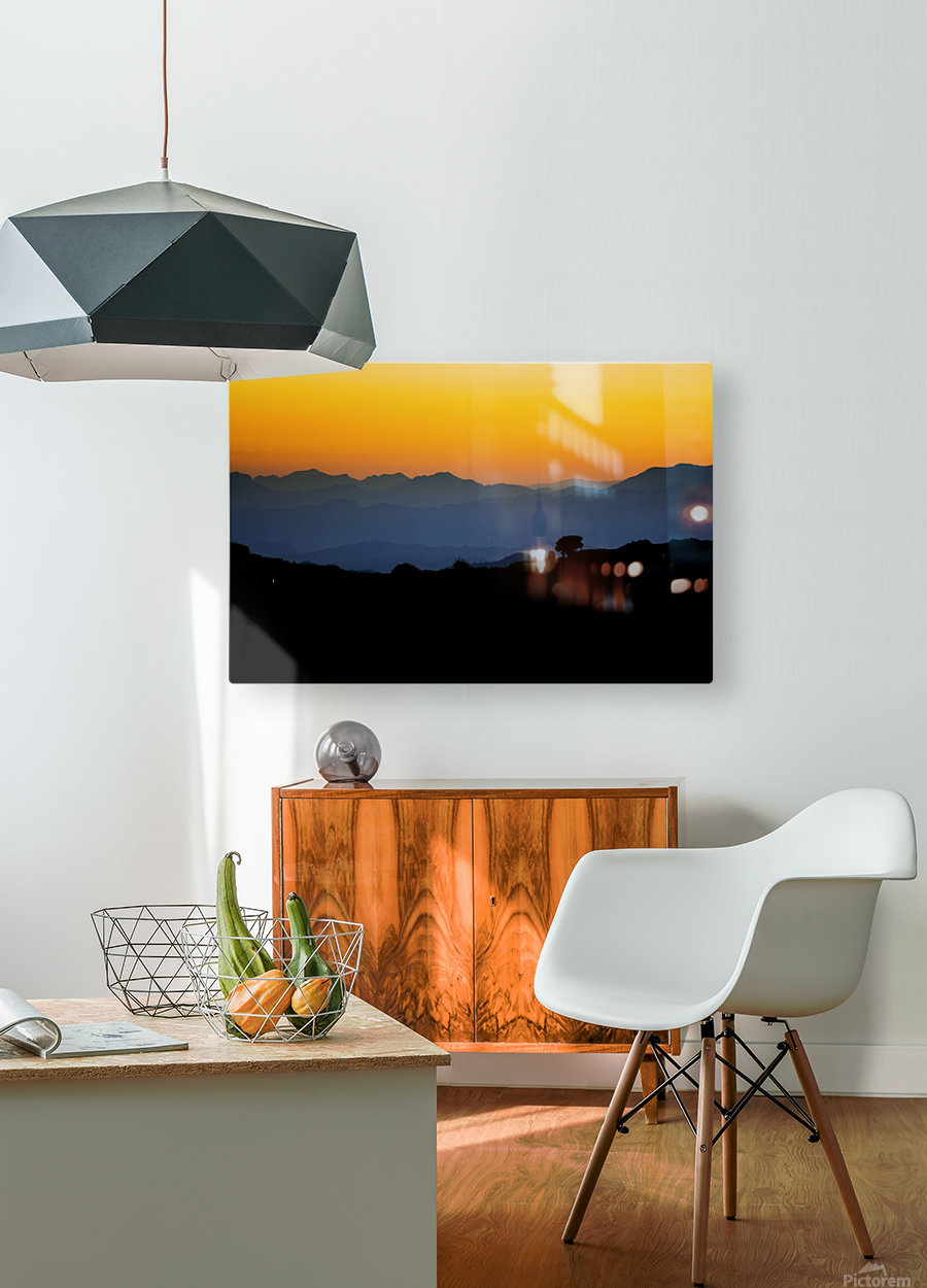 Layer of dawn  HD Metal print with Floating Frame on Back