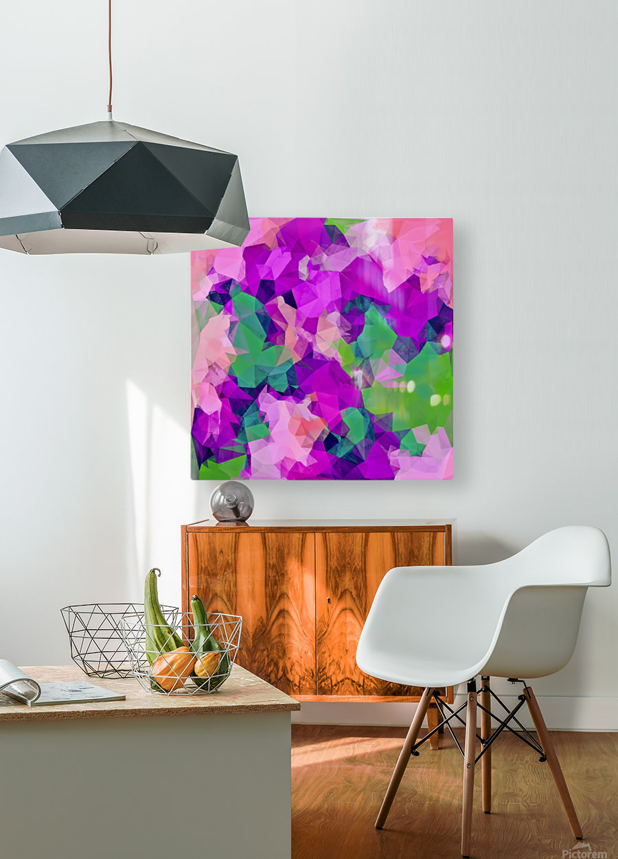 psychedelic geometric polygon pattern abstract in pink purple green  HD Metal print with Floating Frame on Back