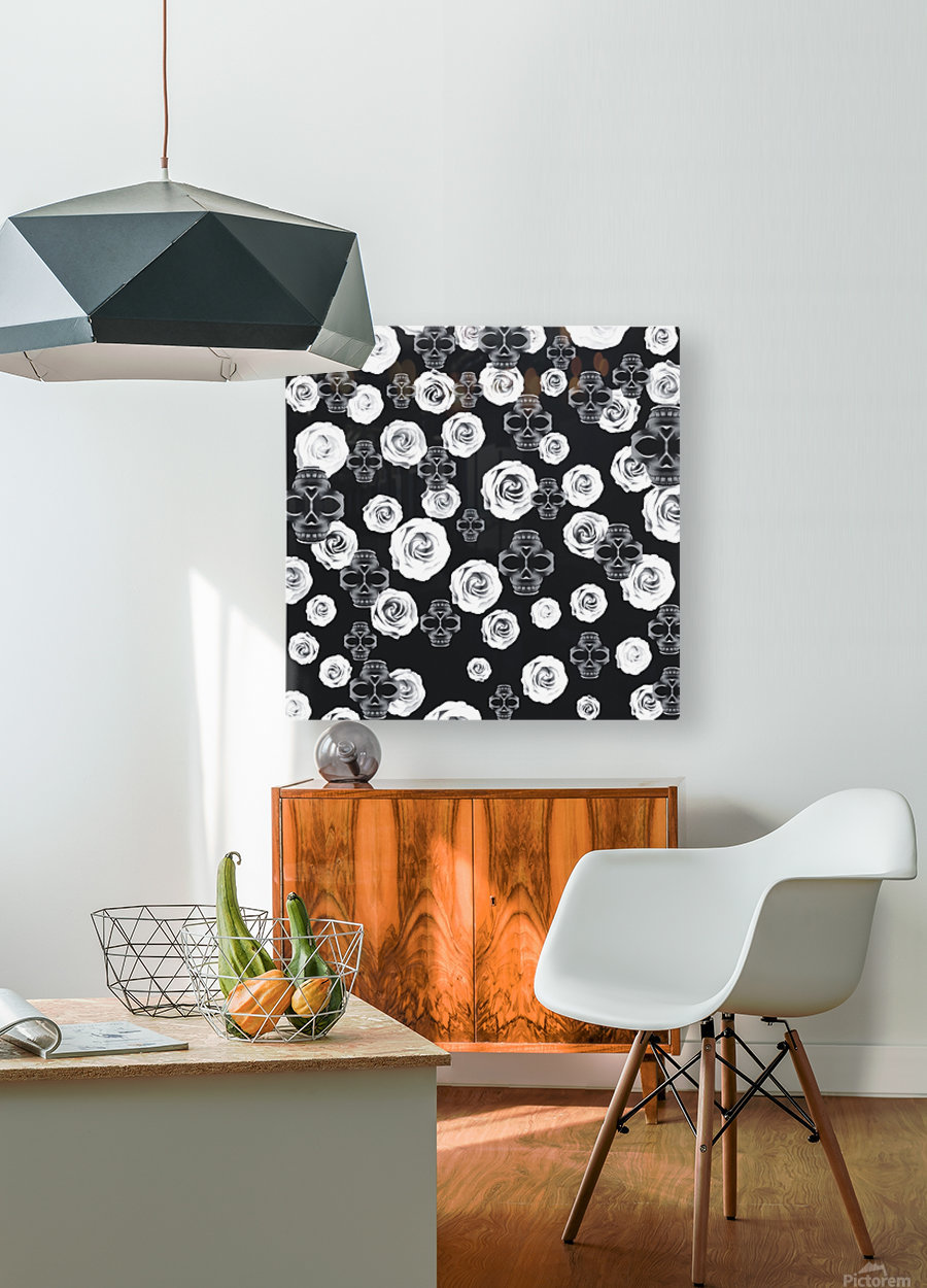 vintage skull and rose abstract pattern in black and white  HD Metal print with Floating Frame on Back