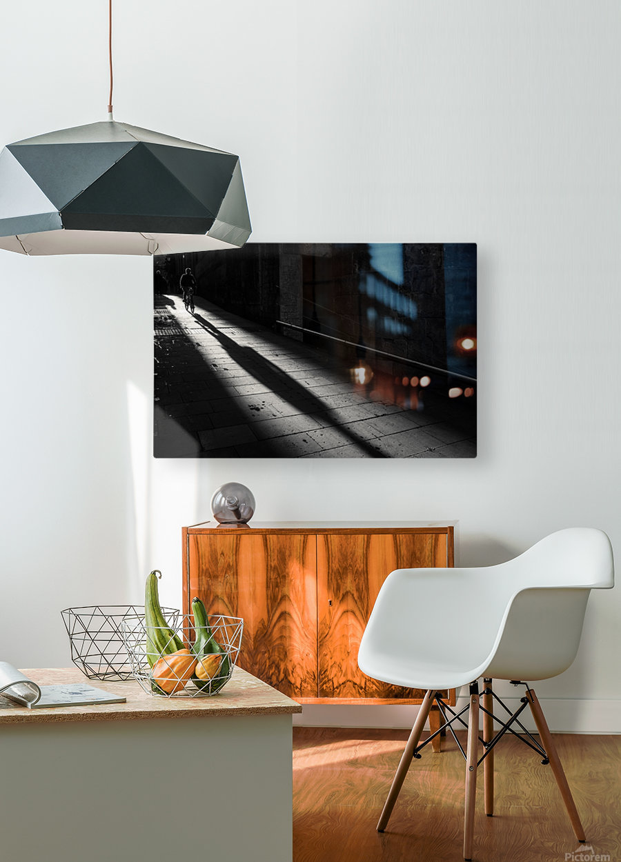 Winter morning in old town  HD Metal print with Floating Frame on Back