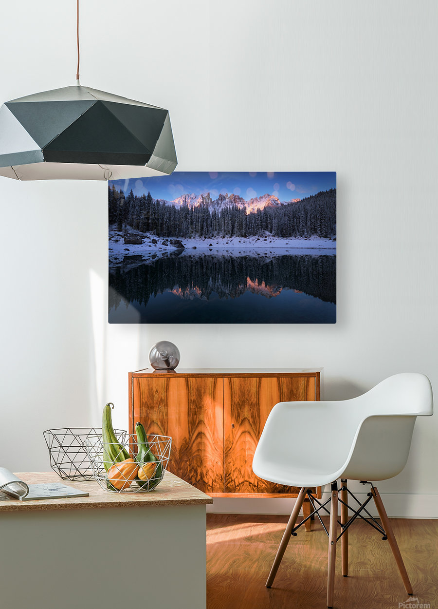The first morning  HD Metal print with Floating Frame on Back