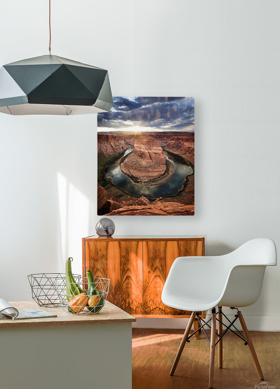 Dramatic sunset at Horseshoe Bend; Page, Arizona, United States of America  HD Metal print with Floating Frame on Back