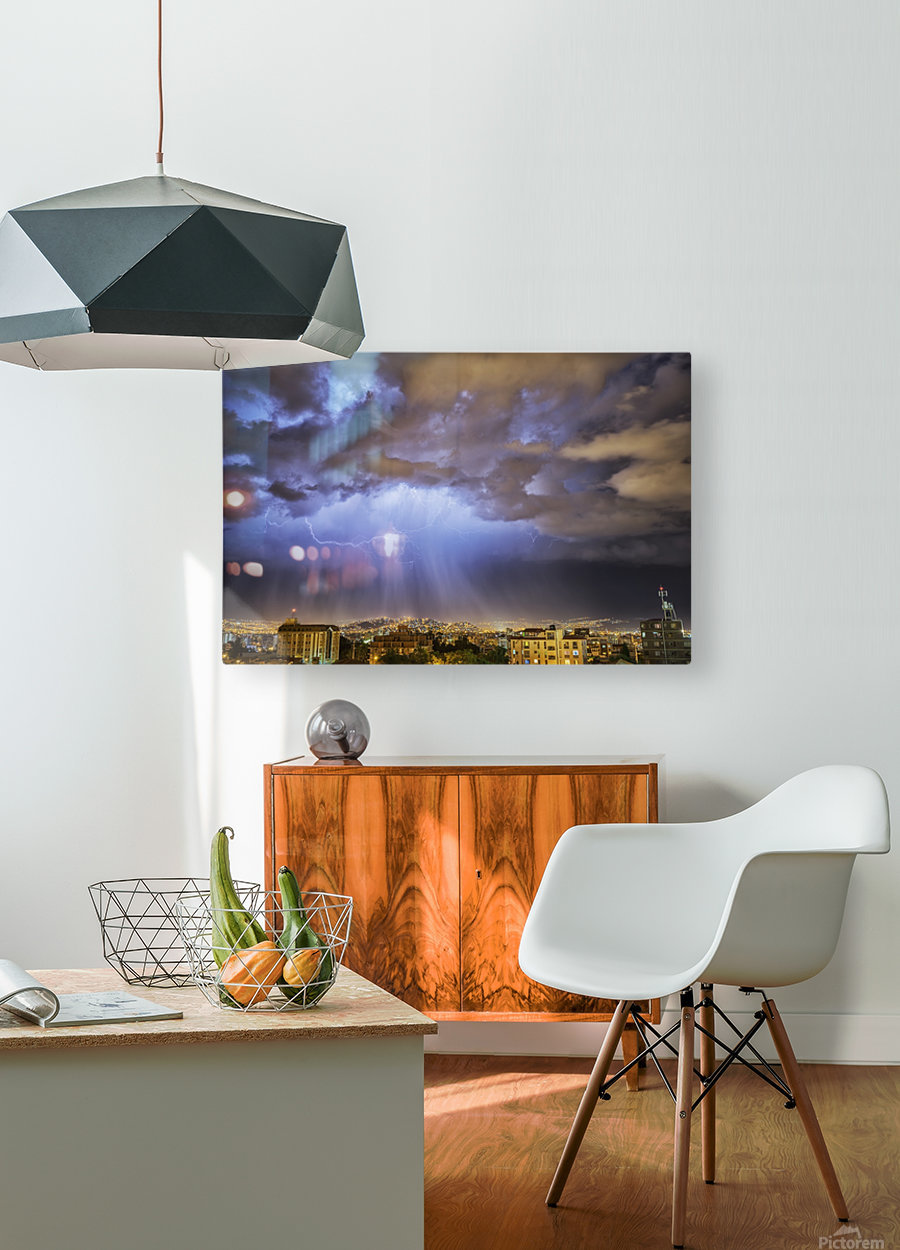 Lightning lights up the night skies above the city of Cochabamba; Cochabamba, Bolivia  HD Metal print with Floating Frame on Back
