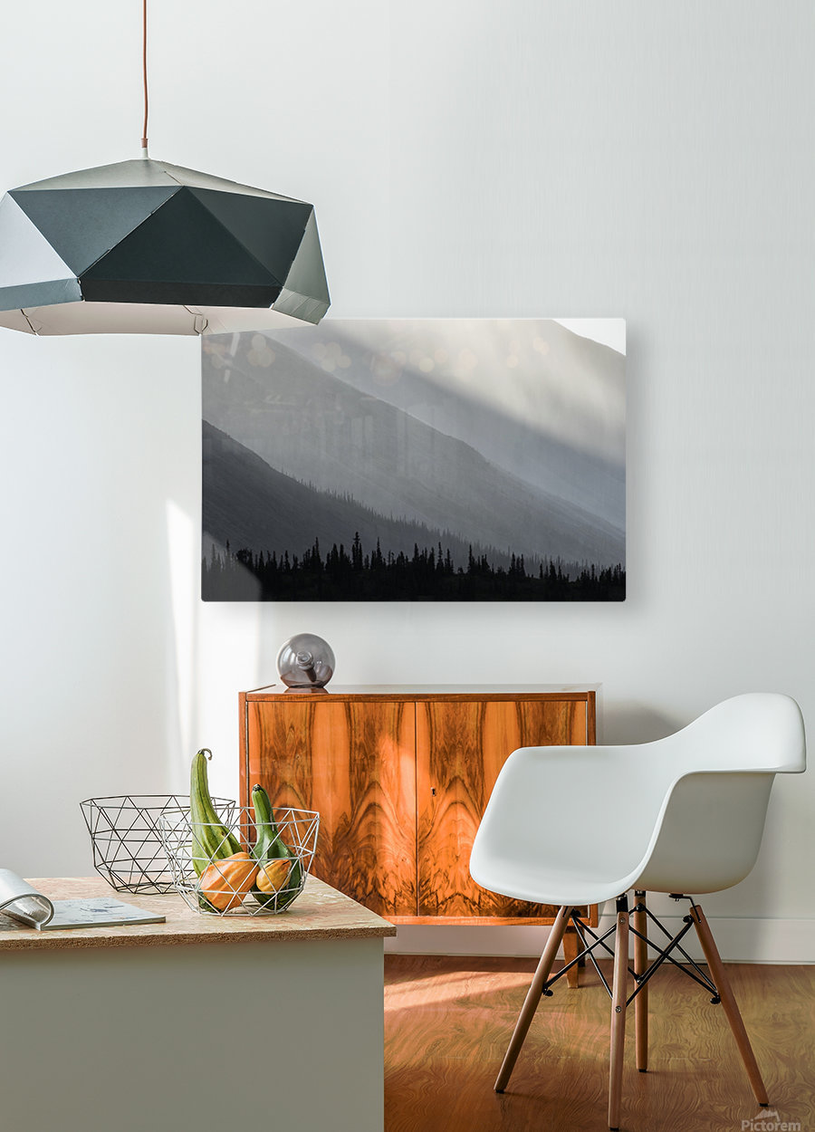 Light shines through the rain as it falls on the mountains along the Wind River in the Peel Watershed; Yukon, Canada  HD Metal print with Floating Frame on Back