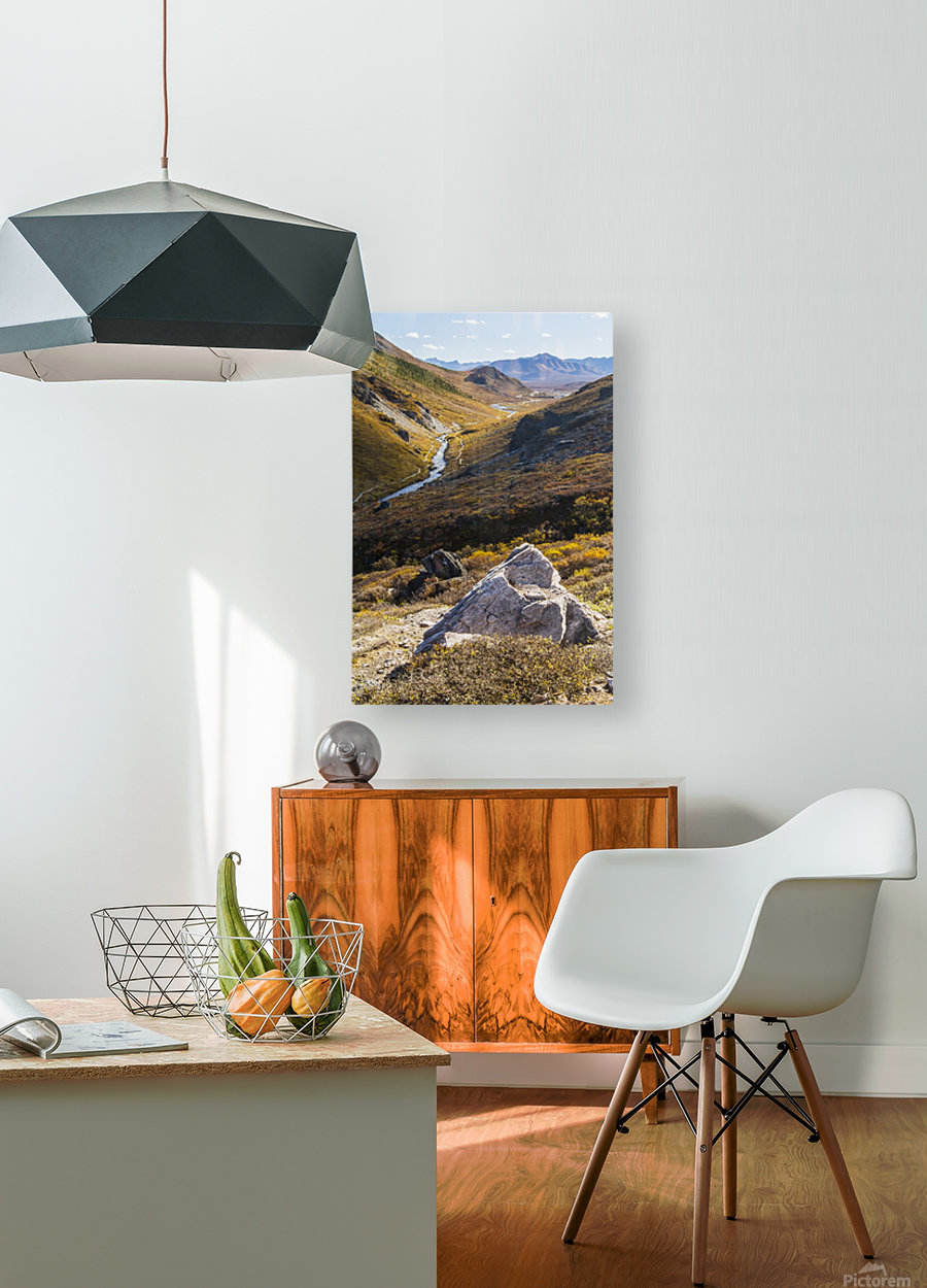 Savage River and the landscape in the rocky high country, Denali National Park and Preserve, interior Alaska; Alaska, United States of America  HD Metal print with Floating Frame on Back