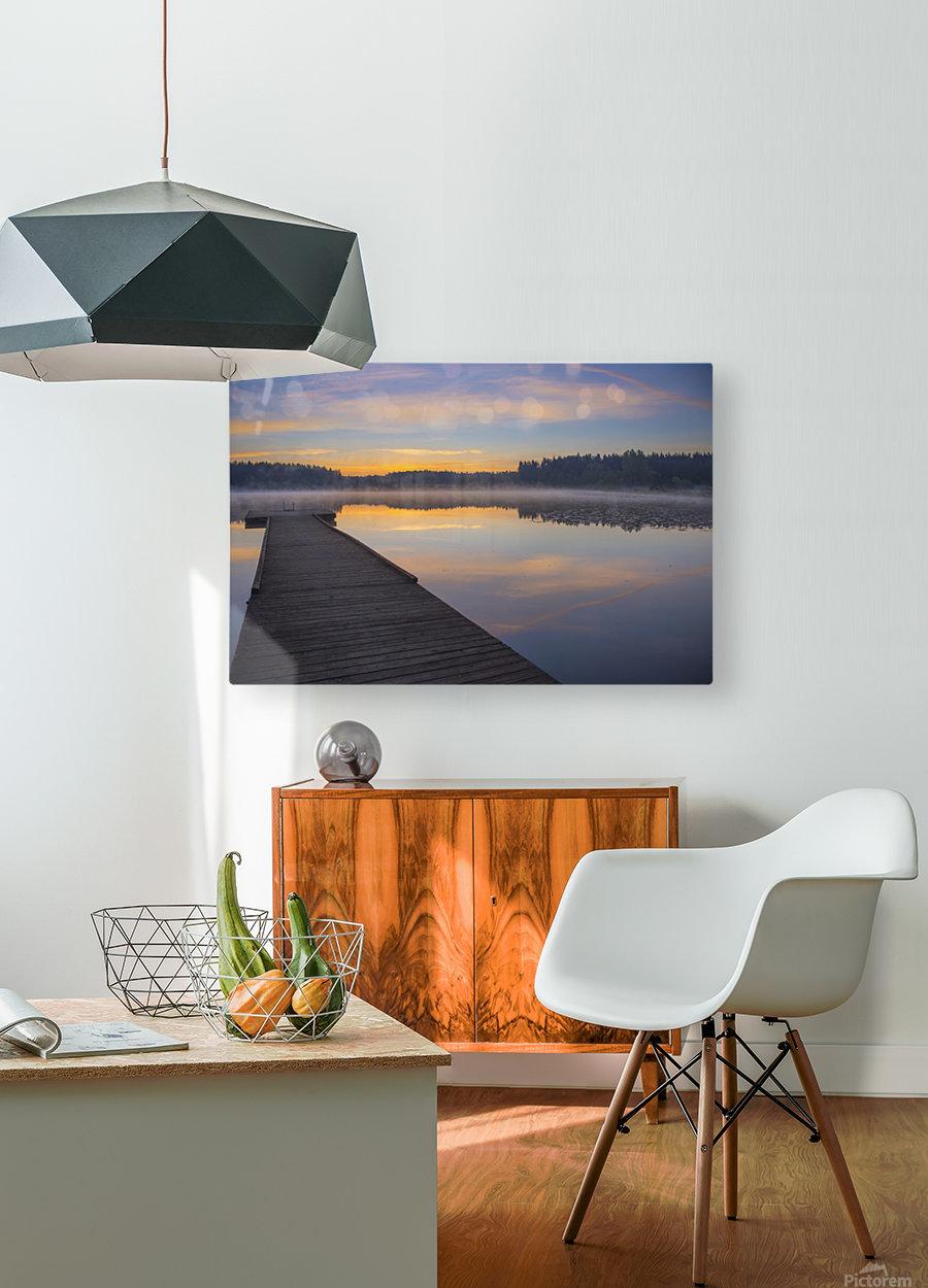 Reflection of a beautiful serene sunrise on peaceful Scott lake; Washington, United States of America  HD Metal print with Floating Frame on Back