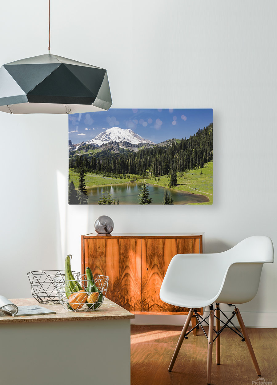 A view of Mount Rainier above Tipsoo Lake, near the top of Chinook Pass on Highway 410 in the Cascade Mountains; Washington, United States of America  HD Metal print with Floating Frame on Back