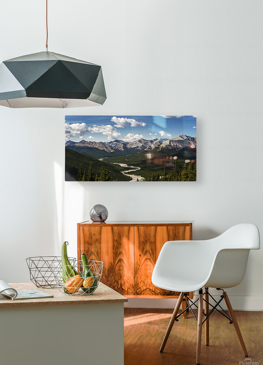 Panorama of river valley and mountain range with blue sky and clouds; Bragg Creek, Alberta, Canada  HD Metal print with Floating Frame on Back