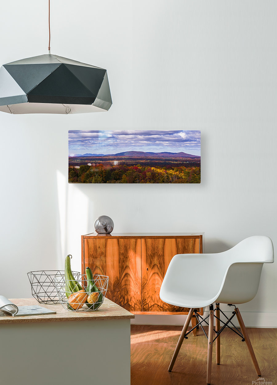 Mountain range in autumn colours with autumn coloured forest in the foreground; West Bolton, Quebec, Canada  HD Metal print with Floating Frame on Back