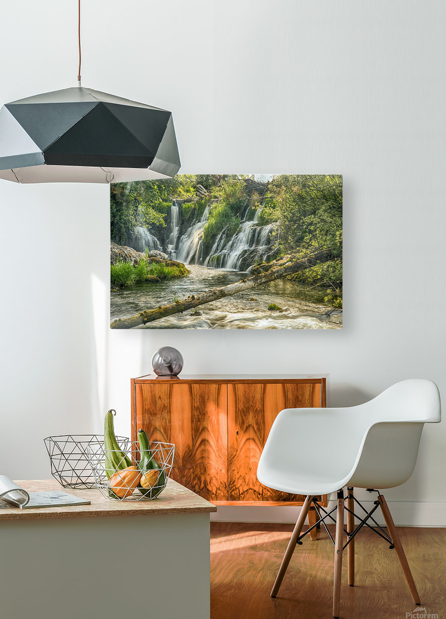 The Deschutes River Falls at the base of the old Olympia Brewery, an HDR image of only a portion of the falls; Tumwater, Washington, United States of America  HD Metal print with Floating Frame on Back