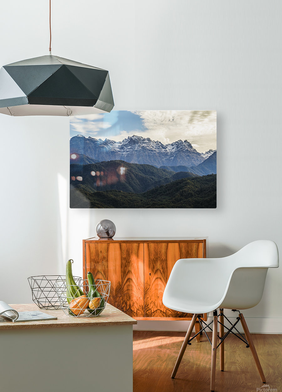 Panoramic view of the Greater Caucasus Mountains, as seen from the road between Jvari and Mestia, Zemo Svaneti National Park; Samegrelo-Zemo Svaneti, Georgia  HD Metal print with Floating Frame on Back