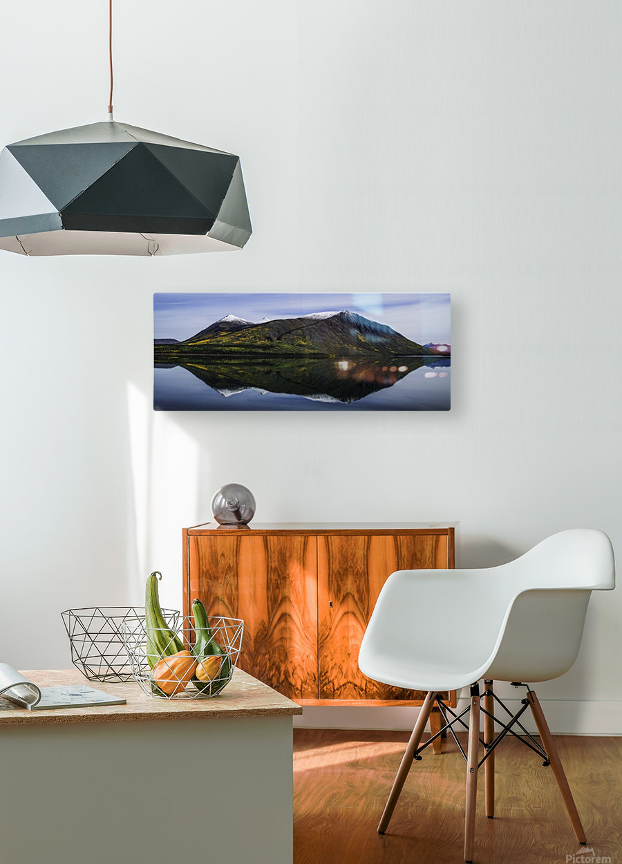 Reflection of the mountains surrounding Carcross reflected in the still waters; Yukon, Canada  HD Metal print with Floating Frame on Back