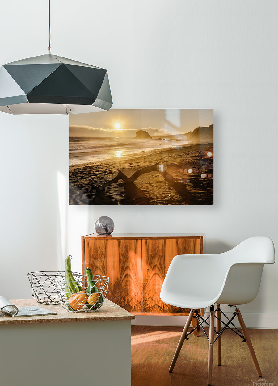Seashore at sunset, San Simeon State Park; California, United States of America  HD Metal print with Floating Frame on Back