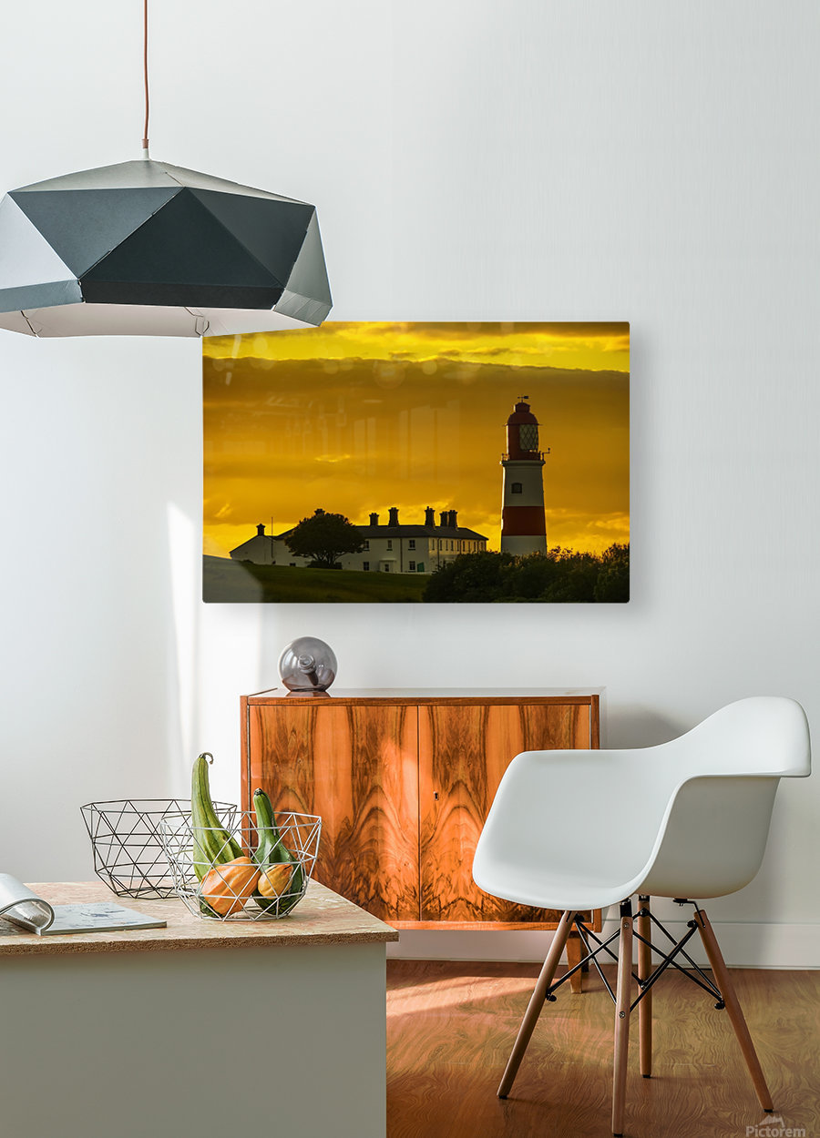 Souter Lighthouse under a glowing golden sky at sunset; South Shields, Tyne and Wear, England  HD Metal print with Floating Frame on Back