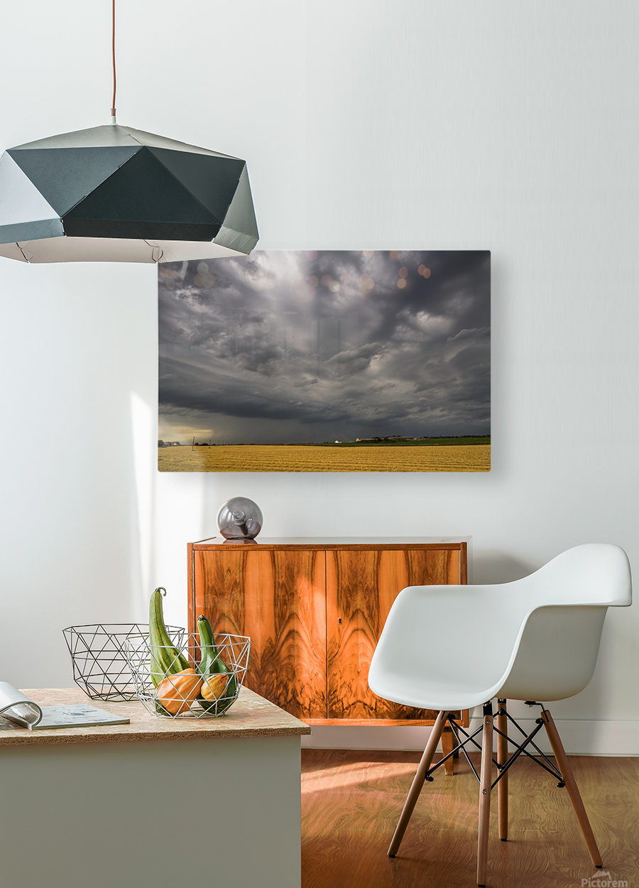 Dark storm clouds over a farm field; Whitburn, Tyne and Wear, England  HD Metal print with Floating Frame on Back