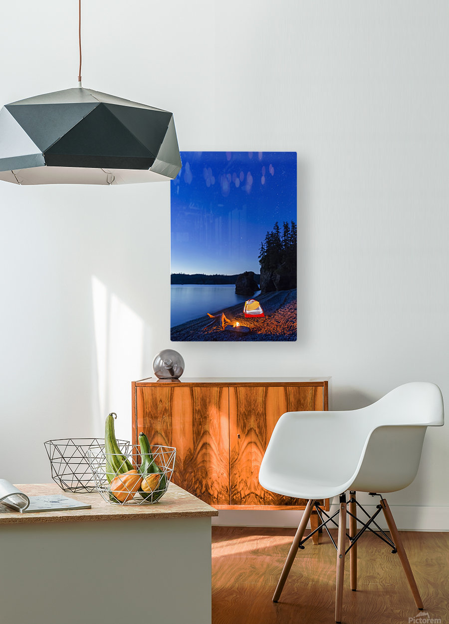 A campfire built on a beach at dusk next to a glowing tent, tranquil ocean water reflecting the warm light, Hesketh Island; Homer, Alaska, United States of America   HD Metal print with Floating Frame on Back