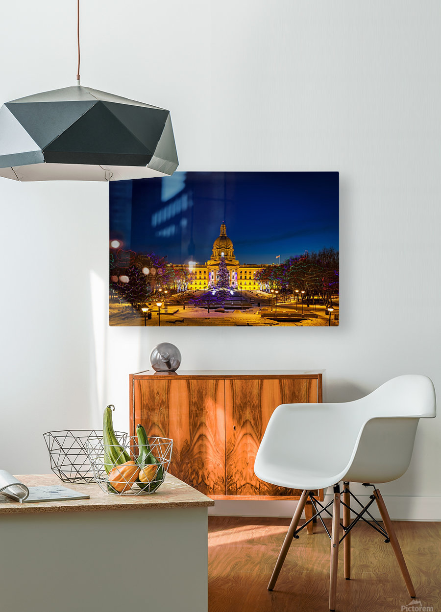 Alberta Legislature building illuminated and a Christmas tree with colourful lights on the trees for decoration at Christmas time; Edmonton, Alberta, Canada  HD Metal print with Floating Frame on Back