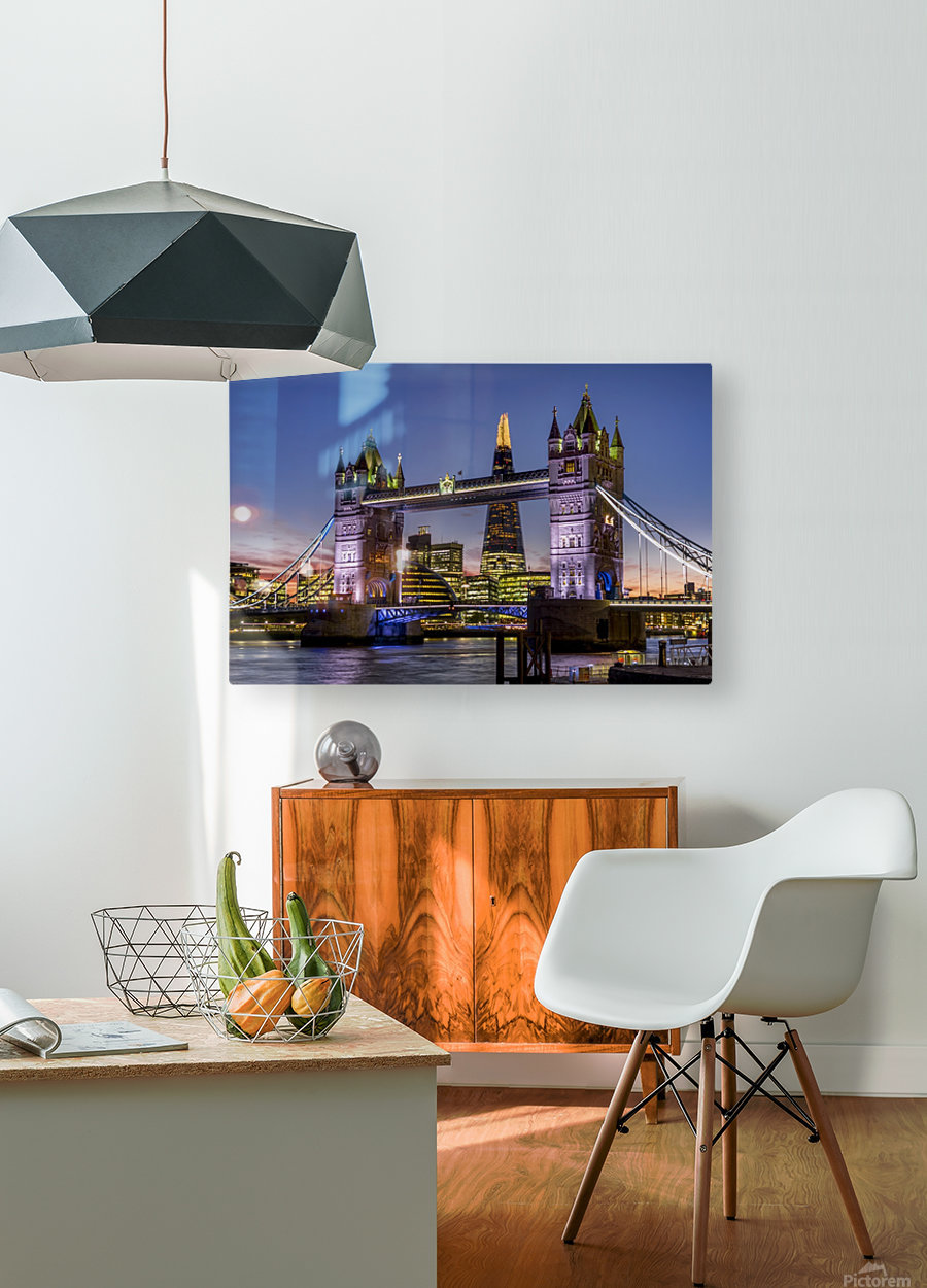 Shard with Tower Bridge at sunset; London, England  HD Metal print with Floating Frame on Back