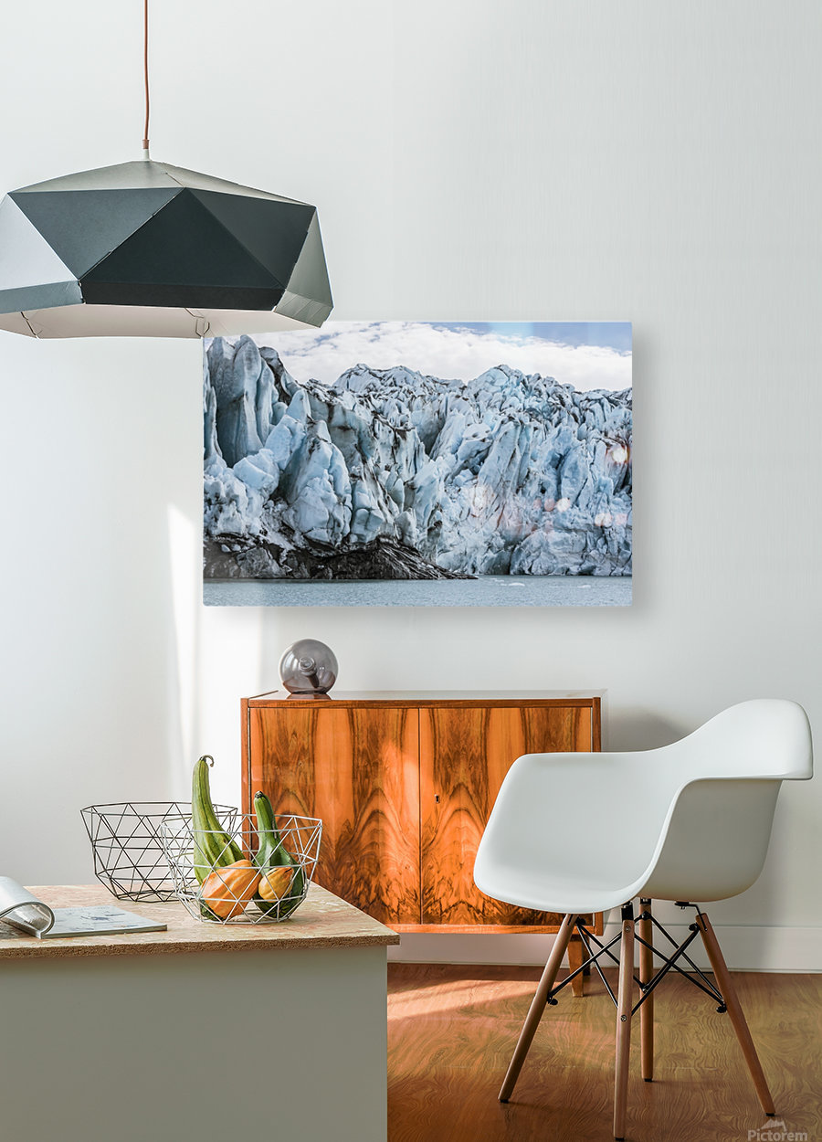 Front face of Colony Glacier, South-central Alaska; Alaska, United States of America  HD Metal print with Floating Frame on Back