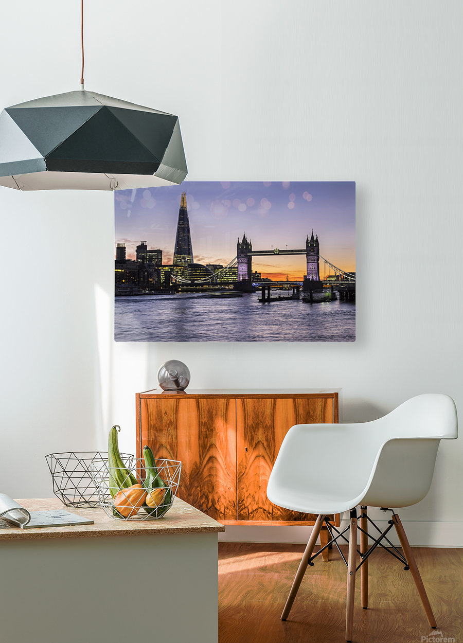 Tower Bridge and The Shard at dusk; London, England  HD Metal print with Floating Frame on Back