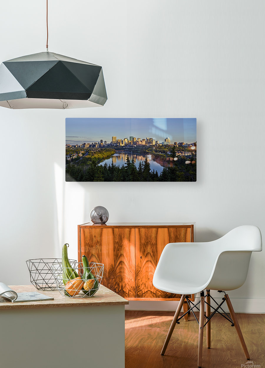 Skyline of downtown Edmonton reflected in the North Saskatchewan River under a blue sky; Edmonton, Alberta, Canada  HD Metal print with Floating Frame on Back