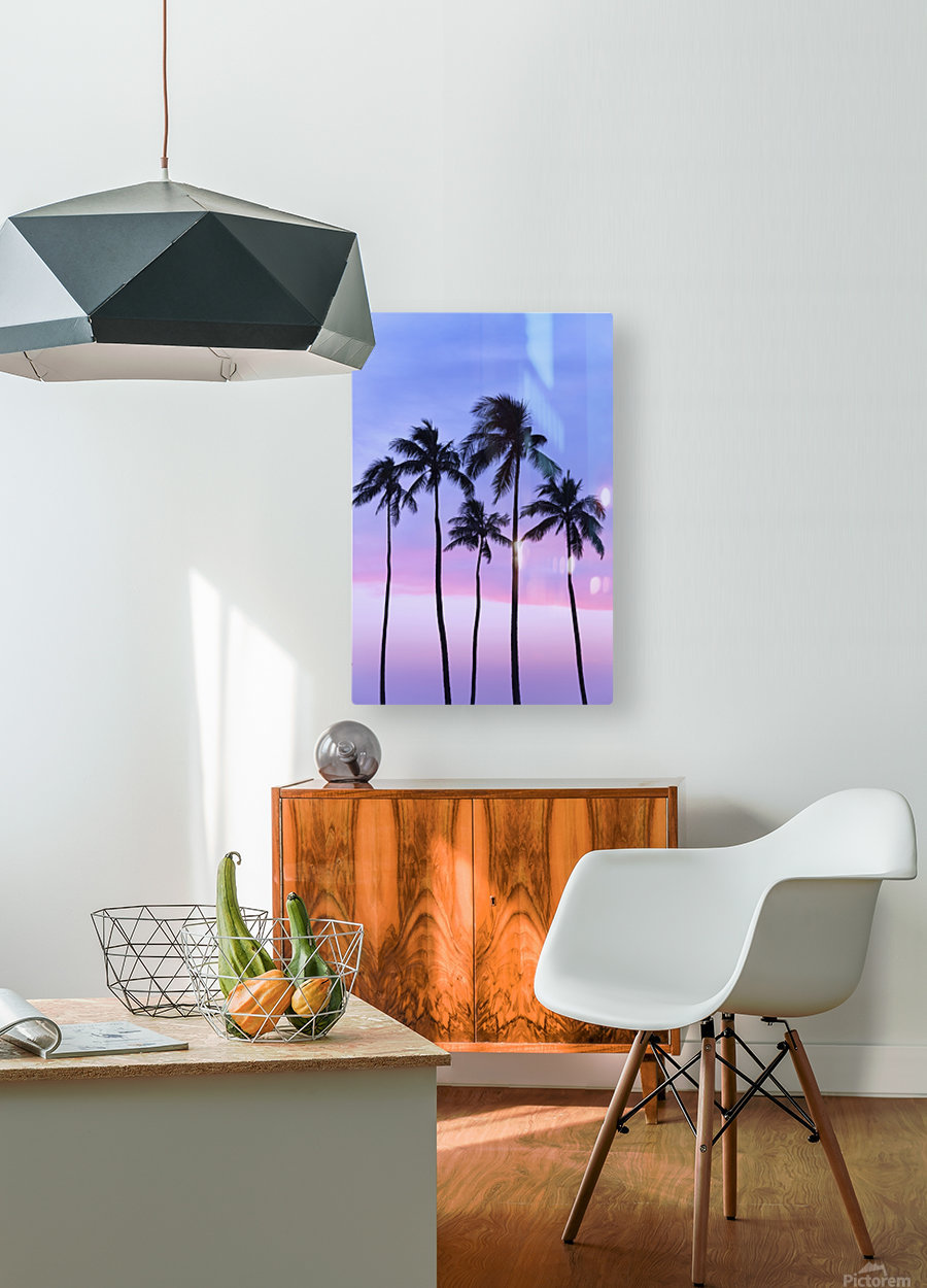 Five coconut palm trees in line with cotton candy sunset behind; Honolulu, Oahu, Hawaii, United States of America  HD Metal print with Floating Frame on Back