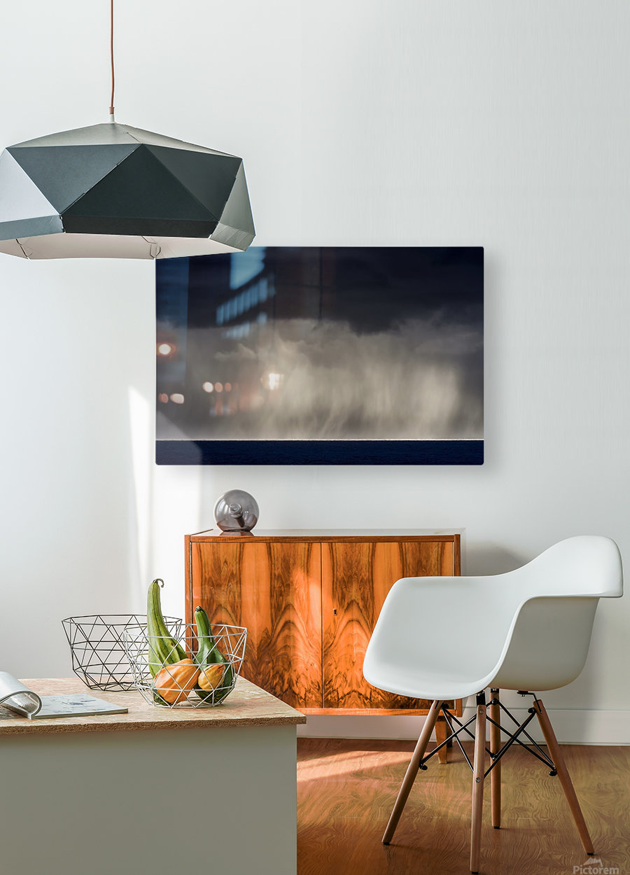 Rain falls over the ocean; Cannon Beach, Oregon, United States of America  HD Metal print with Floating Frame on Back