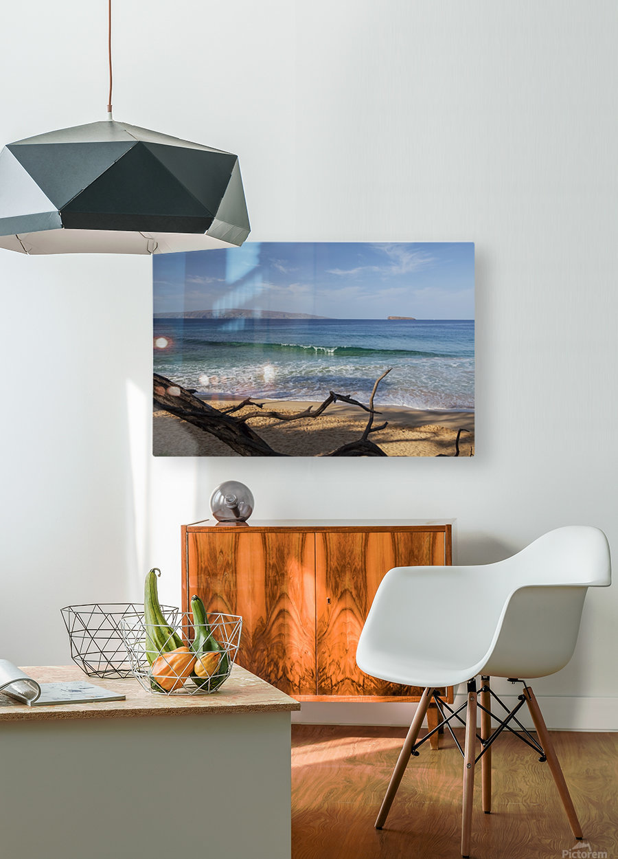 View of Kahoolawe and Molokini Islands from Little Beach at Makena Beach State Park; Maui, Hawaii, United States of America  HD Metal print with Floating Frame on Back