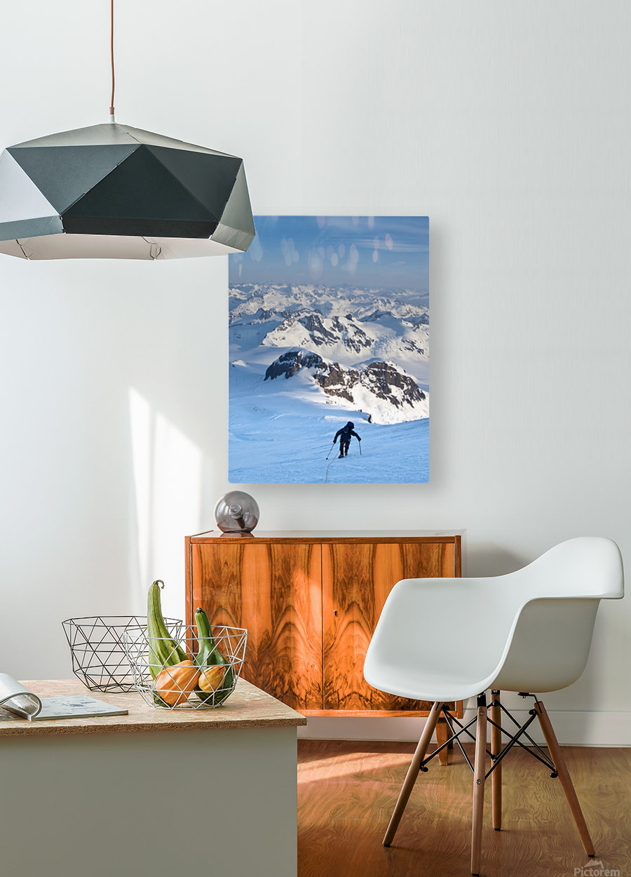 Climber Leaning Into High Winds On Northwest Ridge Of Mount Iliamna Above Tongue Glacier And Chigmit Mountains, Spring, Southcentral Alaska  HD Metal print with Floating Frame on Back