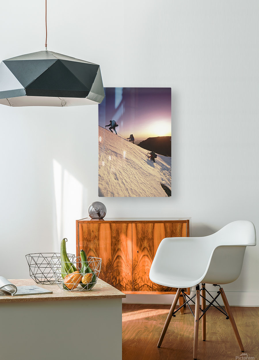 Mountain Climbers @ Sunset Chugach Mts Southcentral Ak  HD Metal print with Floating Frame on Back