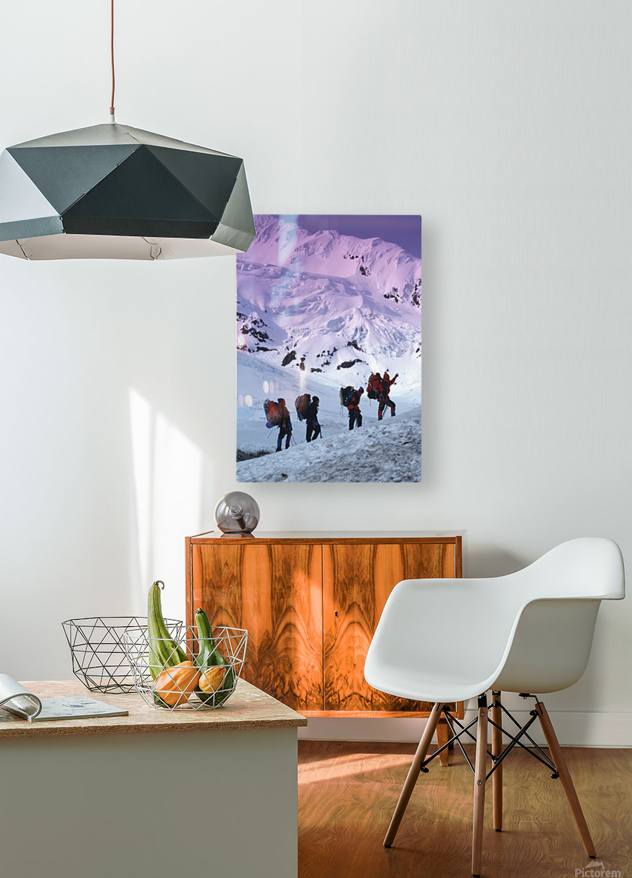 Mountain Climbers Byron Glacier Southcentral Ak Spring  HD Metal print with Floating Frame on Back