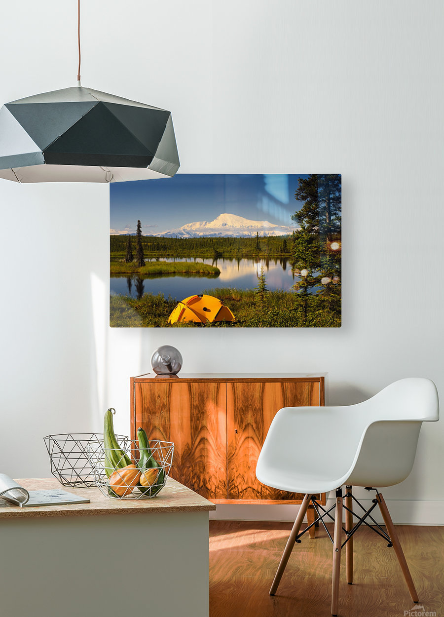Tent Camping In Wrangell Saint Elias National Park With Mount Sanford In The Background, Southcentral Alaska, Summer  HD Metal print with Floating Frame on Back