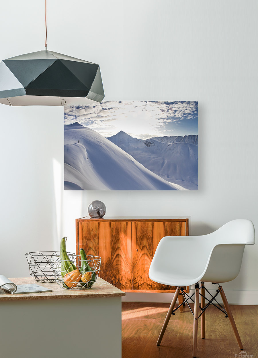Man Backcountry Skiing In Powder Snow At Wolverine Bowl, Turnagain Pass, Kenai Mountains, Southcentral Alaska, Winter  HD Metal print with Floating Frame on Back