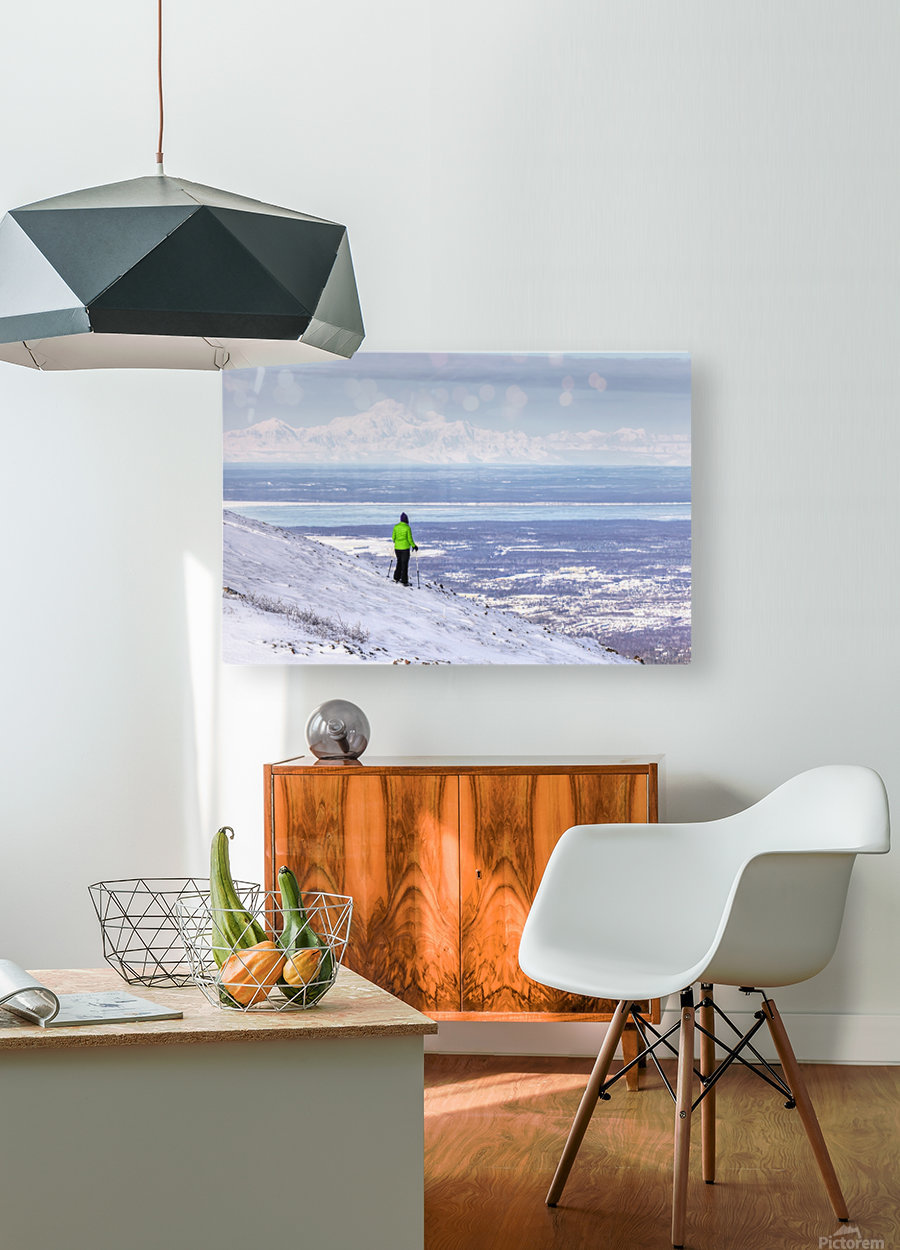 Woman snowshoer taking in the view of Mt. McKinley (Denali) from Blueberry Hill at the Glen Alps area of Chugach State Park, Anchorage, Southcentral Alaska, Winter, HDR  HD Metal print with Floating Frame on Back