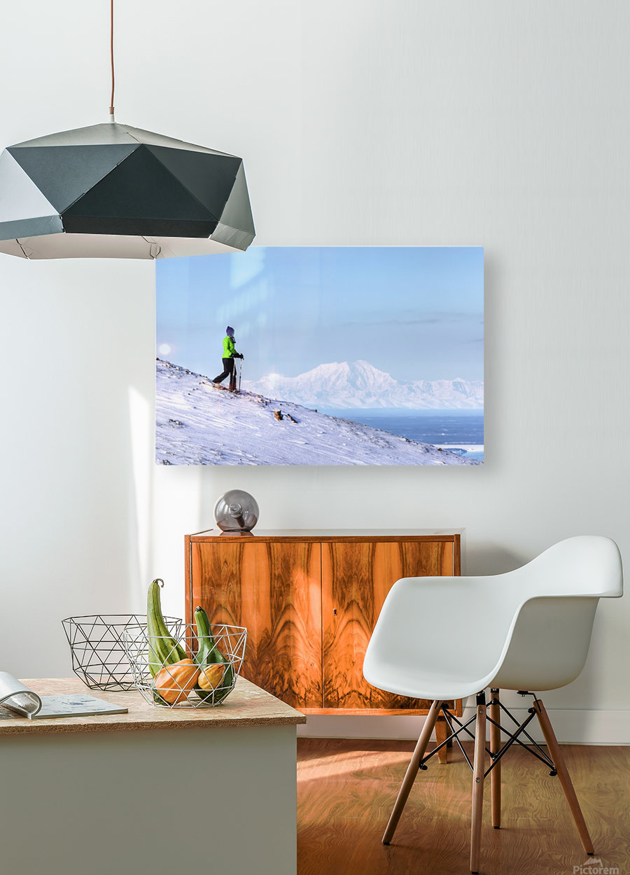 Woman snowshoeing on Blueberry Hill at the Glen Alps area of Chugach State Park with Mt. Foraker in the background, Anchorage, Southcentral Alaska, Winter, HDR  HD Metal print with Floating Frame on Back