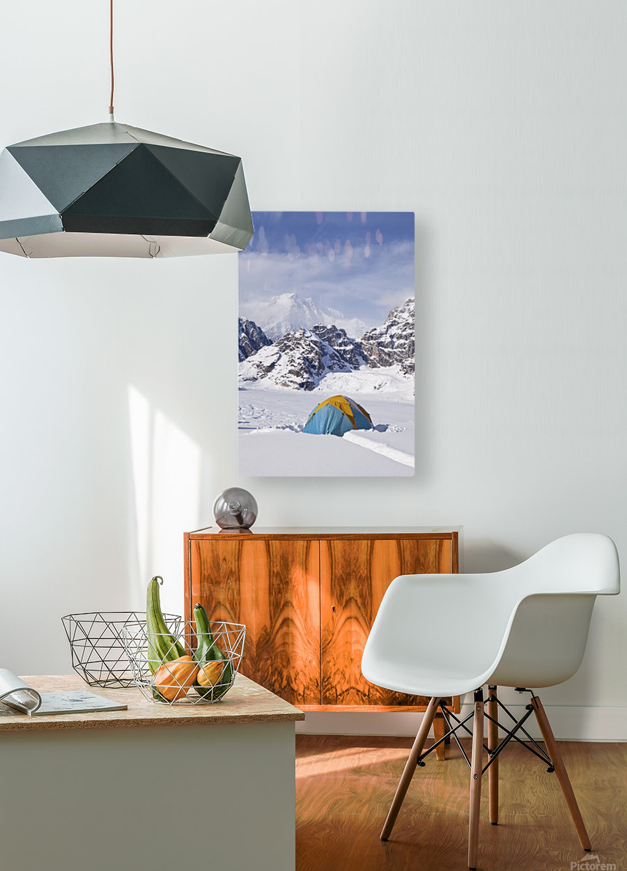 Mountain tent on ridge in winter, Mt. McKinley in background, part of Mt. Dan Beard immediately behind tent, Denali National Park and Preserve; Alaska, United States of America  HD Metal print with Floating Frame on Back